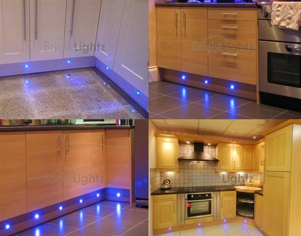 set of 10 led deck lights decking plinth kitchen lighting set blue 15mm - Led Lights For Kitchen