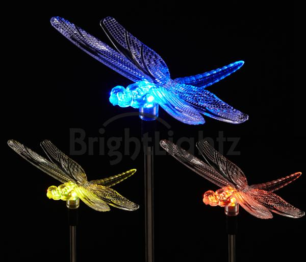 Led Solar Stake With Colour Changing Dragonfly Gardens