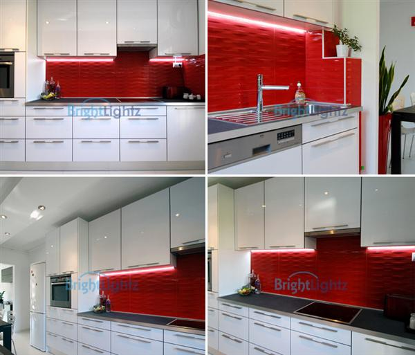 Red LED Strip Light Kit (4 x 50cm) - Kitchen Lighting, Plasma TV, etc