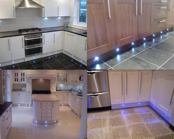 led plinth lights in blue 15mm kitchens decking gardens led