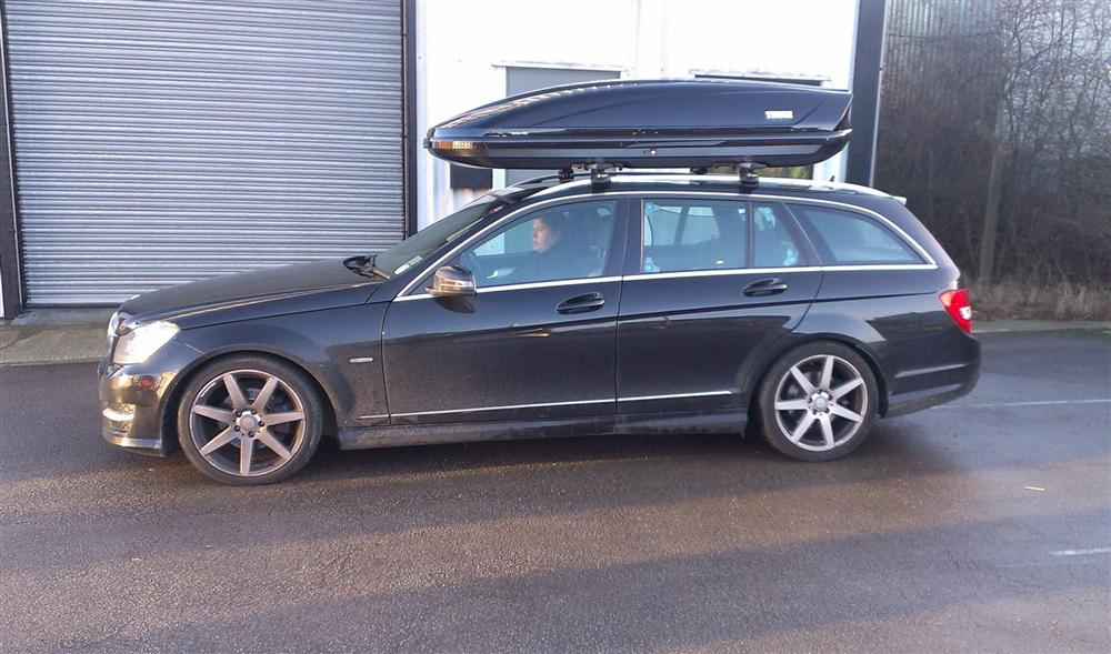 Mercedes C Class Estate   Thule Wingbars With Thule Motion 900 Roof Box